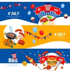 Independence Day Celebration BBQ Banners Set vector image