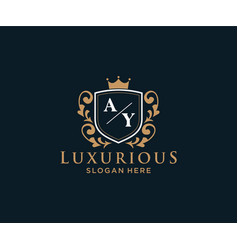 Initial ay letter royal luxury logo template vector