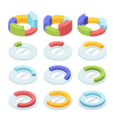 isometric circle pie chart set infographic vector image
