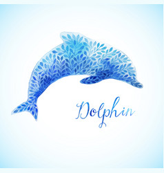 Jumping blue dolphin watercolor painted vector