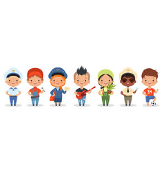 Kids professions cartoon happy children different vector