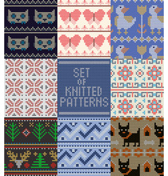 knitting pattern knitted wool texture vector image
