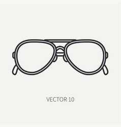 line flat plain vintage fashion sunglasses vector image