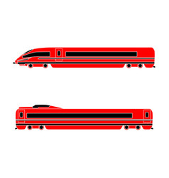 Locomotive and passenger car high-speed train on vector