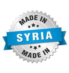 Made in Syria silver badge with blue ribbon vector