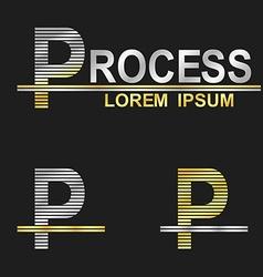 Metallic business font design - letter p vector