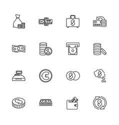 Money and finance - flat line icons vector
