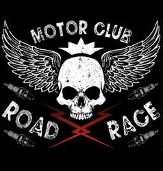 motor club skull tee vector image