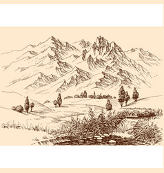 Mountains panorama hand drawing travel or tourism vector