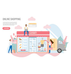 Online shopping with charactercreative flat vector