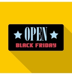 Open Black Friday label icon flat style vector image