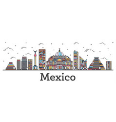 outline mexico city skyline with color buildings vector image