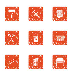 Partition icons set grunge style vector