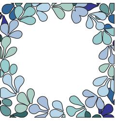 pastel blue laurel wreath frame vector image
