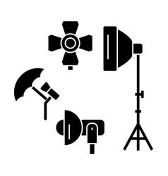 Photo light studio icon sig vector