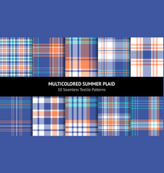 Plaid pattern set vector