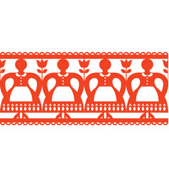 polish folk art cutout pattern with women vector image