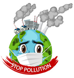 Poster design for stop pollution with earth vector