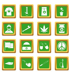 Rastafarian icons set green vector