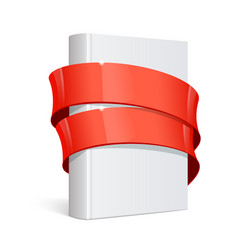 realistic white blank book wrapped in ribbon vector image