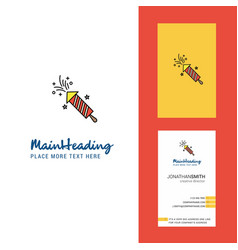 rocket creative logo and business card vertical vector image