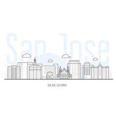 san jose city skyline - cityscape of san jose vector image
