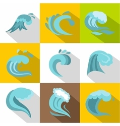 Sea waves icons set flat style vector