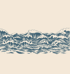 Sea waves sketch pattern vector