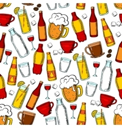 Seamless drinks and beverages pattern background vector