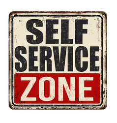 Self service zone vintage rusty metal sign vector