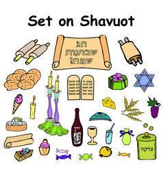 set of graphic color on the jewish holiday shavuot vector image