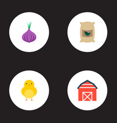 Set of harvest icons flat style symbols with grown vector