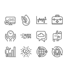 Set science icons such as teamwork graph vector