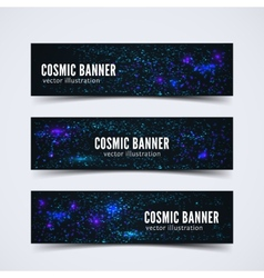 Set three banners with abstract cosmic vector