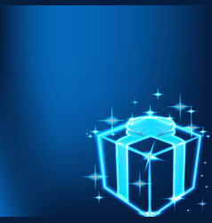 shine gift box technology background vector image