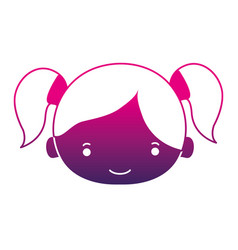 Silhouette girl head with two tails hair vector