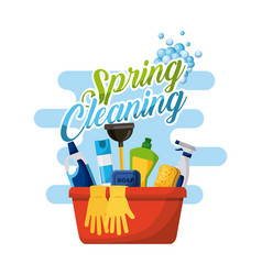 Spring cleaning poster with bucket bottle spray vector