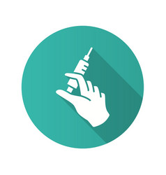 syringe injection in hand icon with long shadow vector image