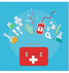taking blood donation kit laboratory equpment on vector image
