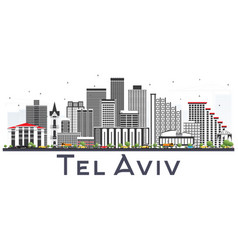 Tel aviv israel city skyline with gray buildings vector