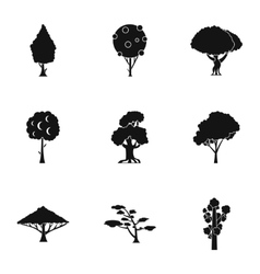 Types of trees icons set simple style vector