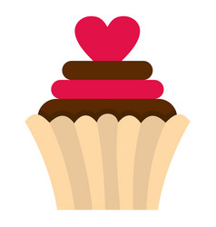 Valentine cupcake icon isolated vector