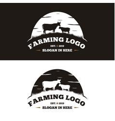 Vintage cattle and angus emblem label logo design vector