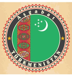Vintage label cards of Turkmenistan flag vector