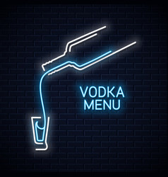 Vodka bottle neon logo vodka shot neon sign on vector