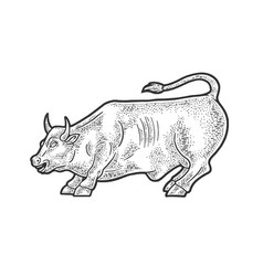 wall street bull statue sketch vector image
