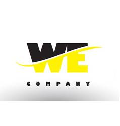 we w e black and yellow letter logo with swoosh vector image