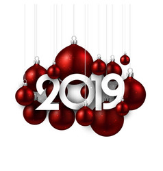 White festive 2019 new year card with red vector