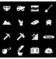 white mining icon set vector image