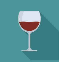 wine glass flat long shadow design icon vector image